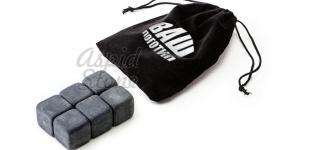50 Комплектов из 6 камней для виски в мешочке с лого и визиткой
