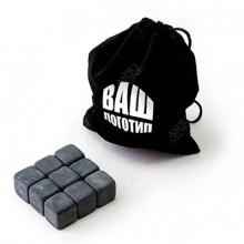 50 Комплектов из 9 камней для виски в мешочке с лого и визиткой